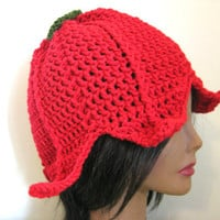 Red Fairy Flower Hat Fantasy Leaf Elven Adult Womens Costume Beanie