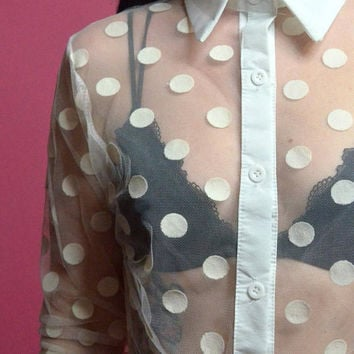 vintage 90s sheer mesh shirt white polkadot fishnet button up blouse long sleeve romantic top xs