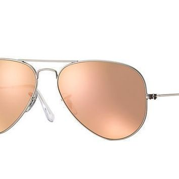 Ray Ban Aviator Sunglass Matte Silver Rose Gold Mirrored RB 3025 019/Z2