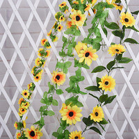 New Artificial Sunflower Garland Flower Vine Home Wedding Decor Floral DIY 3C