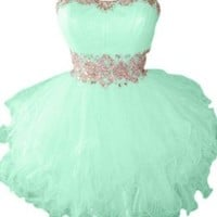 Sunvary Cute Sweety 16 Cocktail Homecoming Dress Evening Dress Mini Bridesmaid Prom Gowns Juniors Size 8- Mint