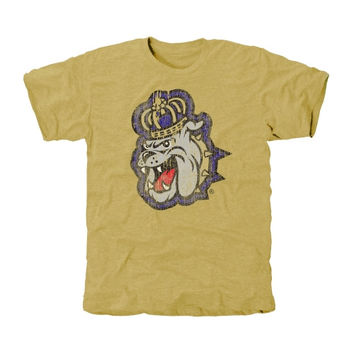 James Madison Dukes Distressed Secondary Tri-Blend T-Shirt - Light Gold