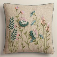 Wildflowers Embroidered Throw Pillow