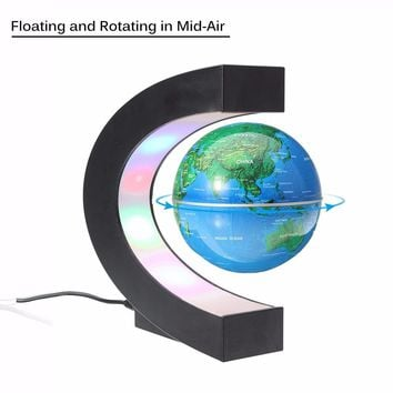 Magnetic Levitation Floating Globe C shape World Map Anti-gravity earth Globe LED Light Home Decoration Santa Birthday Gift
