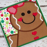 Gingerbread Girl Iron On Applique Patch Christmas