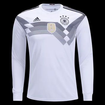 KUYOU Germany 2018 World Cup Home Men Long Sleeve Soccer Jersey Personalized Name and Number