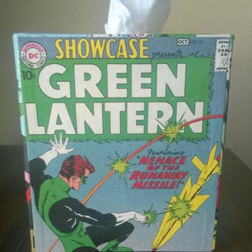 Green Lantern comic book superhero decoupage tissue box cover