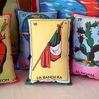 La Bandera Mexican Flag Loteria Mini Pillow with Lavender - Dia De Los Muertos / Day of the Dead Party Gift