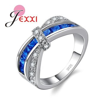 JEXXI Linked Together Style Blue Clear Crystal Rings For Women Lady Stamped 925 Silver Ring Jewelry For Wedding Bands