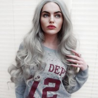 Elderflower - Lush Wigs - Long Curly Light Grey Gothic Lolilta Lace Front Lush Wig