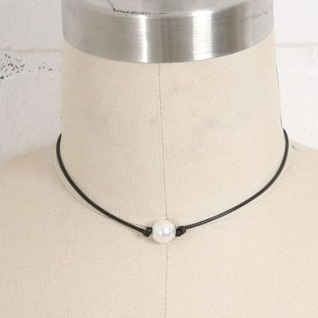 Pearl on a Cord Leather Necklace