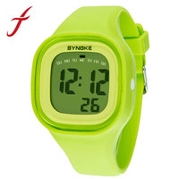 SYNOKE New Fashion Colorful Silicone Waterproof LED Light Digital Sport Wrist Watch Watches Kid Women Girl Men Boy Free Shipping