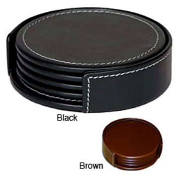 Dacasso Round Rustic Leather Coasters (Set of 4) | Overstock.com