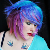 Blue Skies / Human Hair Extension / Blue Green Purple / Long Tie Dye Colored Hair