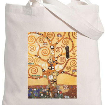 Eco-friendly 100% Organic Cotton Iron On Transfer Tote Bag The Tree Of Life/  Gustav Klimt / Famous Painters Natural Bag