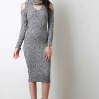 Marled Knit Cold Shoulder Cutout Midi Dress