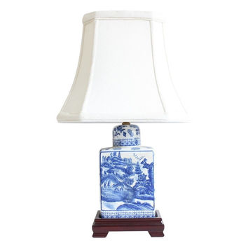 """Beautiful Blue and White Blue Willow Porcelain Tea Caddy Table Lamp 17.5"""""""