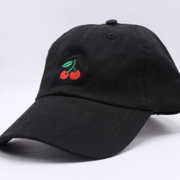 New Cotton Cherry Fruits Embroidered Snapback Baseball Cap Man & Women bone Caps Casquette 2017 Fashion Dad Hat gorras