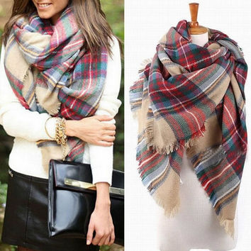 Women Oversized Blanket Tartan Scarf Wrap Warm Shawl Plaid Cozy Checked Pashmina Gift