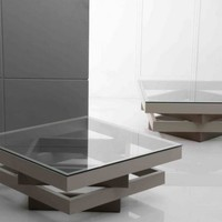 Modern 4-Layer Grey Coffee Table