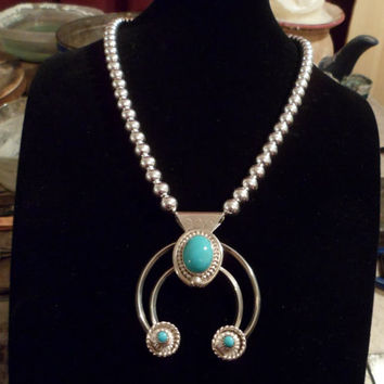 Authentic Navajo,Native American,Southwestern sterling silver and beads, sleeping beauty and Kingman turquoise Naja pendant/necklace