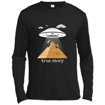 Ancient Alien Theory Novelty  - UFO Conspiracy  Long Sleeve Moisture Absorbing Shirt