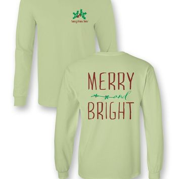 Sassy Frass Merry & Bright Christmas Comfort Colors Long Sleeve Bright Girlie T Shirt