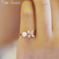 New Arrivals 925 Sterling Silver Rings Opening Crystal Butterfly With Simulated Pearl Ring For Girl Women Gift Jewelry