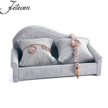 ESBON Mini Soft Sofa Velvet Bangle Bracelet Chain Jewelry Display Stand Holder Exhibitor Watch Show Storage Organizer With 2 Pillows