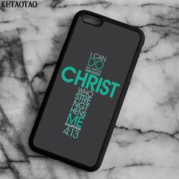 KETAOTAO Bible verse Philippians Jesus Christ Christian Phone Cases for iPhone 6 7 8 X for Samsung Case Soft TPU Rubber Silicone