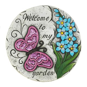 Garden Stepping Stone Pink Butterfly