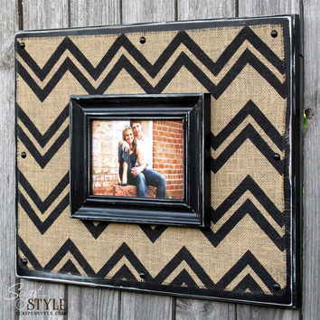 Chevron Burlap Picture Frame Sign, Burlap Photo Frame with Vintage Chevron Pattern, 16x20