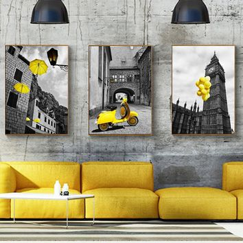 HAOCHU Modern Paris City Landscape Yellow Balloon Canvas Painting Home Decor Modern Printing Wall Art Picture For Living Room