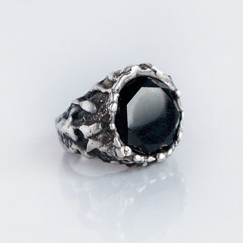 Black Onyx stone large solid silver witch ring dark boho gypsy women - made to order