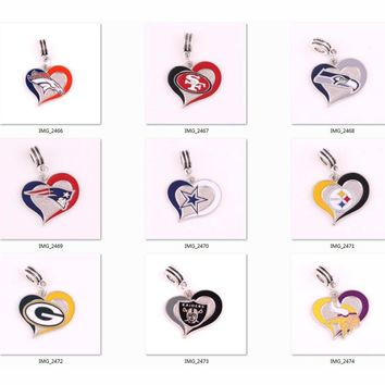 Patriots Seahawks Packers Cowboys Steelers Broncos 49ers Vikings Raiders team logo swirl heart Pendant DIY Necklace or Bracelet