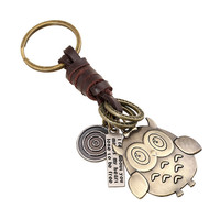 Cute Small Yellow People Design Weave Leather Key Chains Fashion