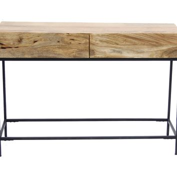 Industrial Style Console Table With Two Drawers, Natural Wood Finish By The Urban Port