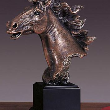 Horse Head Bronze Figurine- 11""