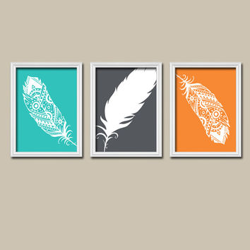 FEATHER Turquoise Charcoal Gray Orange Outline Silhouette Modern Abstract Artwork Set of 3 Prints WALL ART Decor Bedroom Bathroom