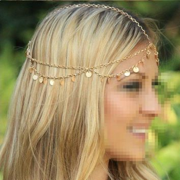 Metallic Circle Sequins Tassel Head Chain 2017 Women Fashion Elegant Wedding Head Piece Hair Accessories Bridal Hair Jewelry
