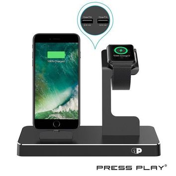 DCK4S2 ONE Dock (APPLE CERTIFIED) Power Station Dock, Stand & Built-In Lightning Charger for Apple Watch Smart Watch (Series 1,2,3, Nike+), iPhone X/10/8/8 Plus/7/7Plus/6s/6s, iPad & iPod (Aluminum) ¨C Black