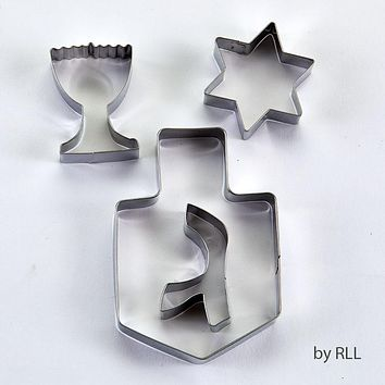 CHANUKAH COOKIE CUTTERS, STAINLESS, 4 ASST SHAPES, 6'X5',CARDED