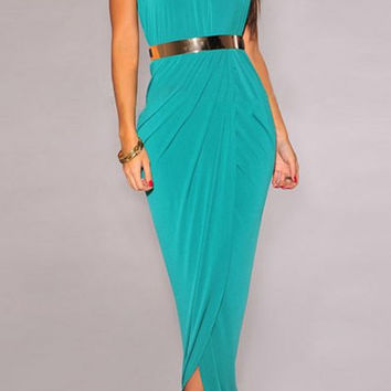 Green Halter Maxi Dress with Belt