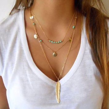 New Fashion Feather Necklace Leaf Layer 3 Necklace Multilayer Necklace Women   171213