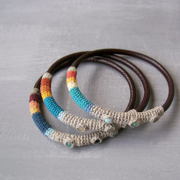 3 Stacking Bangles / Crochet Art Bangles / Ethnic Colorful Tube Bracelets with Swarovski Crystals / Linen and Leather Mixed Media Jewelry