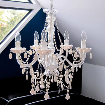 French Provincial 5 Light Chandelier - White Crystals
