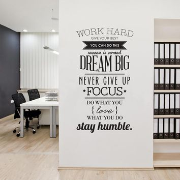 Work Hard,Inspiring Quotes,Vinyl Wall Art Sticker,Never Give Up Dream Big,Mural Decals Poster for Office Living Room Home Decor