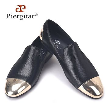 Piergitar men black sheepskin shoes with front and back copper buckle loafers