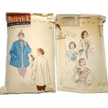 Two Vintage Butterick Blouse Pattern Jacket 5625 8395 Size 12 Size 16 1950's Retro Coat Pattern