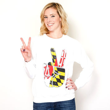 Maryland Peace (White) / Crew Sweatshirt